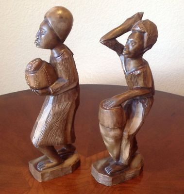 "HAND CARVED 13 and 14"" PAIR OF WOODEN AFRICAN FOLK ART STATUES"