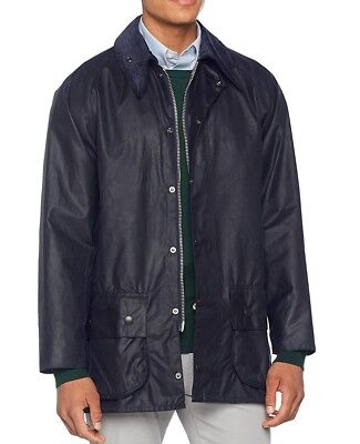 Barbour NEW Navy Blue Mens US Size 2XL 50 Full-Zip Wax Trench Coat $399 387