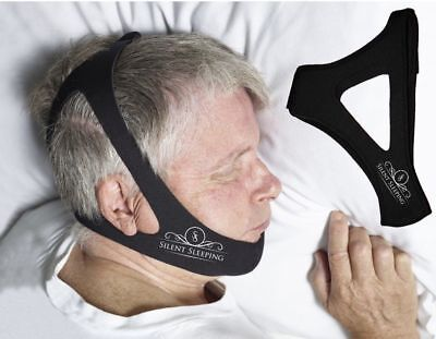Silent Sleeping Over the Head Anti-Snoring CPAP Chin Strap Best Stop  Black