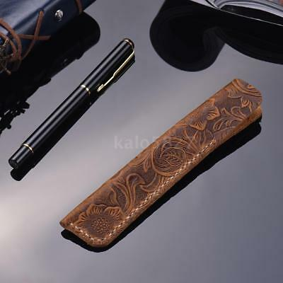 Handmade Leather Pen Case Fountain Sleeve Bag Vintage Pouch for Single Pen M3U5