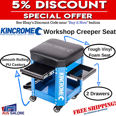 2 Drawer Workshop Creeper  Kincrome Stool For Garage Mechanic Tools With Rolling