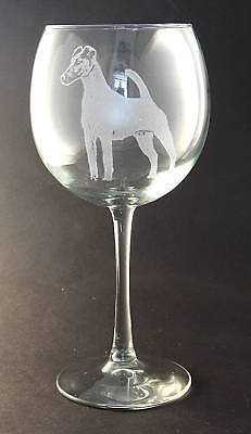 Etched Smooth Fox Terrier on Large Elegant Wine Glasses - Set of 2