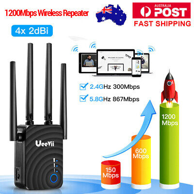 1200Mbps 2.4/5Ghz Dual Band Wireless Range Extender WiFi Repeater 4*2dBi Antenna