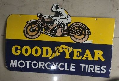 Porcelain Goodyear Motorcycle Tires Sign 36 X 24 Inches