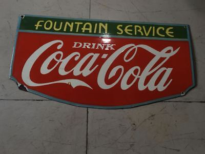 """Porcelain Coca Cola Fountain Service  Tires Sign 14"""" X 27""""  Inches"""