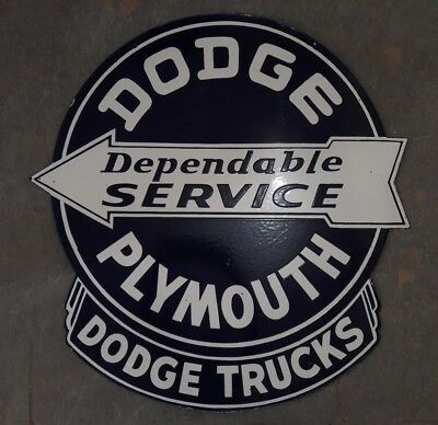 "Porcelain Dodge Plymouth Trucks  Sign Measures 30"" x 31"" Inches Double Sided"