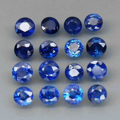 Round 3-3.2mm.Best Color Top Blue Normal Heated Sapphire Madagascar 16Pc/2.80Ct.