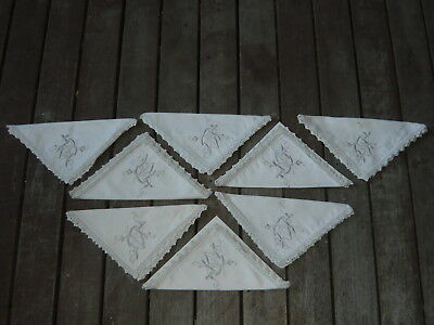 Lot of 8 Vintage Crochet Lace & Embroidery Fabric Napkin Serviette Matching Set