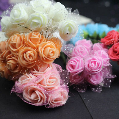 144Pcs Foam Mini Roses Head Buds Small Flowers For Wedding Home Party Decoration