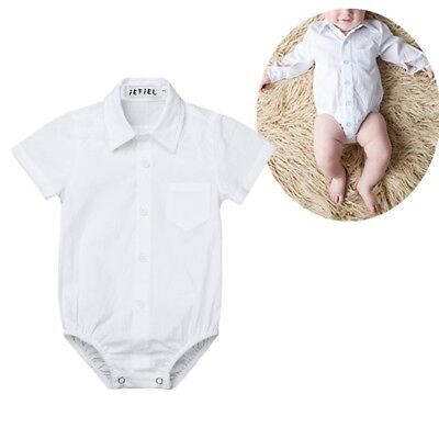Baby Boys Button up Bodysuit Gentleman Formal Shirt Romper Jumpsuit 3-24 Months