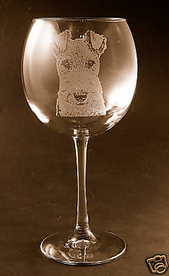 Etched Airedale Terrier on Large Elegant Wine Glasses - Set of 2