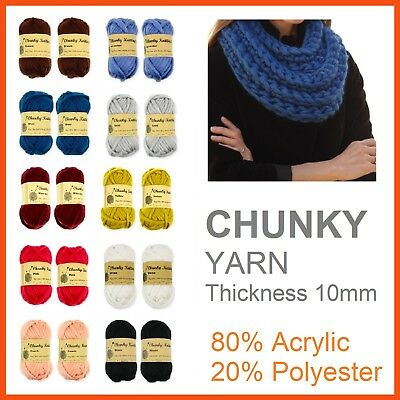 10x SOFT CHUNKY WOOL KNITTING YARN Bulky Knit Roving Crocheting Sweater Ply BULK