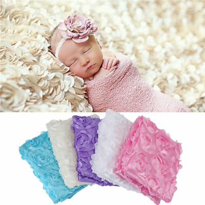 Newborn Photography Props Rug Baby Photo 3D Rose Flower Backdrop Soft Blanket