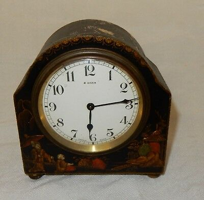 Vintage French Black Chinoiserie 8 Day Mantle Clock