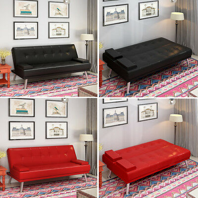 Click Clack Sofa Bed Faux Leather Recliner 3 Seater Modern Double Small Settee