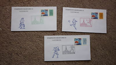 Set Of 3 Melbourne Stamp Show 2002 Sport P Stamp Covers, Football Cricket Tennis