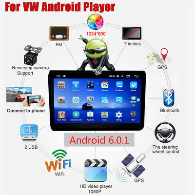 """9"""" Touch Screen HD 1080P MP5 Player Car Radio Audio Stereo GPS For VW Android6.0"""