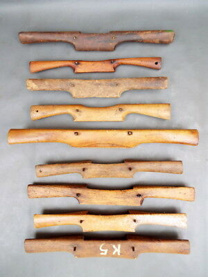 Collection of 9 old wooden spoke shaves - vintage woodworking tools