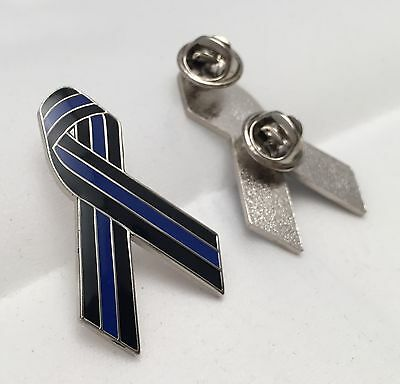 Thin Blue Line Ribbon Pin, Police, Law  Enforcement, TBL, Ribbon Pin,  38mm High