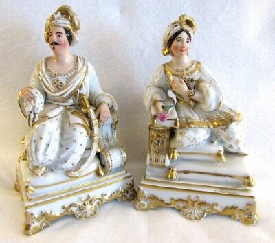 Antique 18thC Derby Pair of Porcelain Figurines of a King & Queen