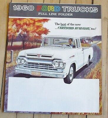 Original 1960 Ford Full Line Truck Dealer Sales Brochure 5 Panel Foldout