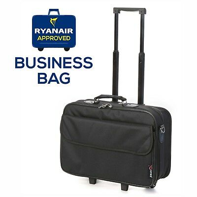 """5 Cities Ryanair 17"""" Laptop Bag Business Roller Case Cabin Approved Briefcase"""