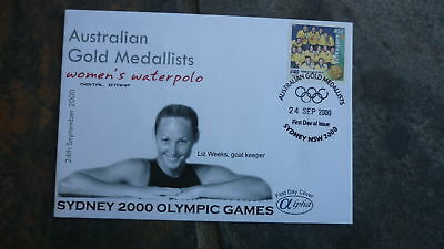 2000 Waterpolo Team Australian Olympic Gold Medal Win Stamp Alpha Fdc