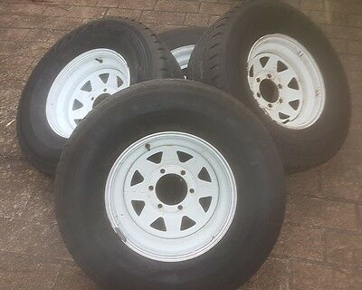 4 x 15 inch 6 stud white ROH wheels and 4wd tyres