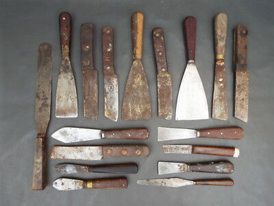 Collection of scrapers putty & putty hacking knives - vintage decorating tools
