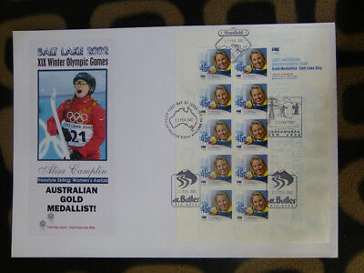 Souvenir Stamp Sheet Fdc 2002 Winter Olympics Gold Medal - Alisa Camplin
