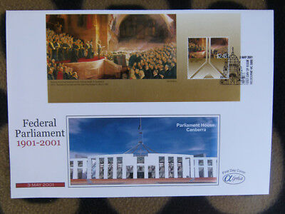 Scarce Alpha First Day Cover - 2001 Aus Federal Parliament Gold Mini Sheet
