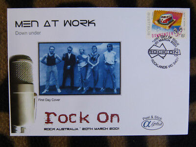 Scarce Alpha First Day Cover - 2001 Rock On, Men At Work Down Under Stamp