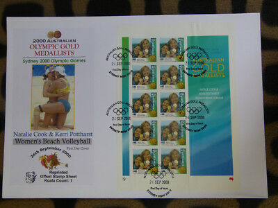 Souvenir Stamp Sheet Fdc Sydney Olympic Gold Medallists - Cook & Pottharst