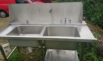 catering double sink on stand aluminium