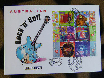 Scarce Alpha First Day Cover - 1998 Aus Rock'n'roll Block 6 Stamps