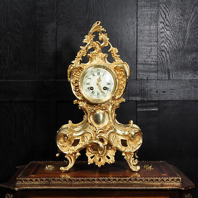 Antique French Rococo Gilt Bronze Boudoir Clock 1900 Fully Working