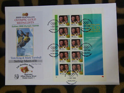 Souvenir Stamp Sheet Fdc Sydney Olympic Gold Medallists - Mens 470 Sailing