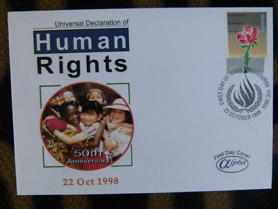 Scarce Alpha First Day Cover - 1998 Human Rights Declaration Anniv. Stamp