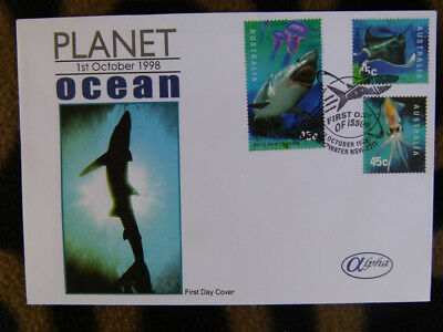 Scarce Alpha First Day Cover - 1998 Planet Ocean Lot 3 Stamps, Shark