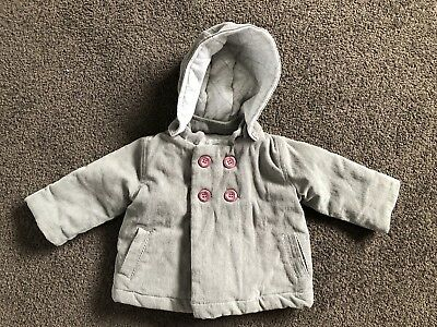 Pure Baby Jacket Double Breasted Grey Size 00 3-6 Months