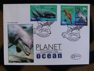 Scarce Alpha First Day Cover - 1998 Planet Ocean Lot 3 Stamps, Dolphin