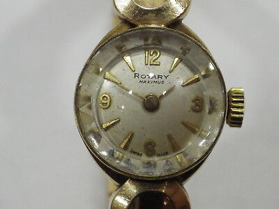 BEAUTIFUL VINTAGE WIND UP LADIES ROTARY 9ct GOLD WATCH INGLUDING STRAP 20.5 g
