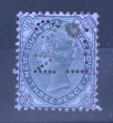 New South Wales 1881 3d Stamp Duty Perfin