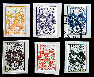 Stamp Central Lithuania Sc# 1-6 MH & 1-Used 1920-21 Coat of Arms