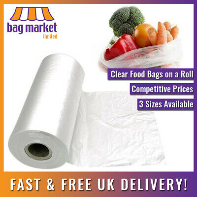 Natural Clear HD Polythene Food Bags On A Roll | Fruit/Veg/Meat/Butcher/Sandwich