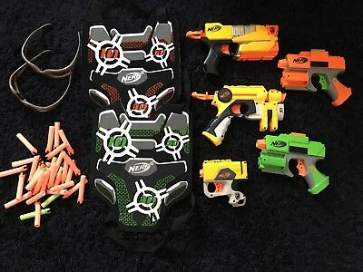 Original nerf gun bundle X5  With Vests & Glasses