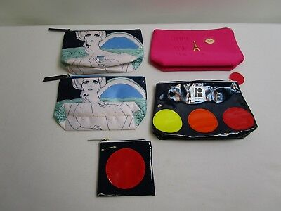 Mixed Lot of Clutch/Makeup Bags ESTEE LAUDER/LANCOME / Brightly Colored!