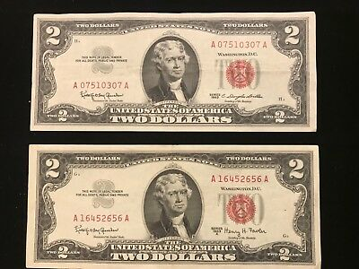 1963 & A SERIES $2 RED SEAL Legal Tender UNITED STATES NOTE SET OF 2  NICE GRADE
