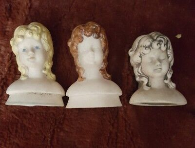 3 Porcelain Doll Head and Shoulders