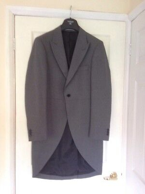Mens Taylor & Wright Grey Tailcoat Wedding Races Prom Morning Suit 40R